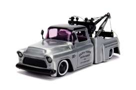 Chevrolet  - Stepside Tow Truck 1955 chrome/black - 1:24 - Jada Toys - 45002 - jada45002 | The Diecast Company