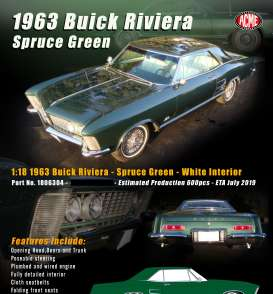 Buick  - Riviera 1963 spruce green - 1:18 - Acme Diecast - 1806304 - Acme1806304 | The Diecast Company