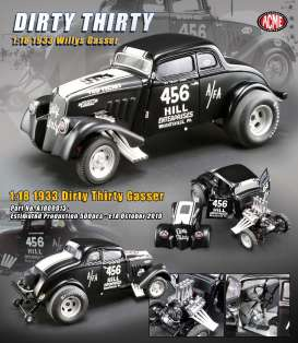 Willys  - Gasser *Dirty Thirty* 1933 satin black/white - 1:18 - Acme Diecast - 1800913 - acme1800913 | The Diecast Company