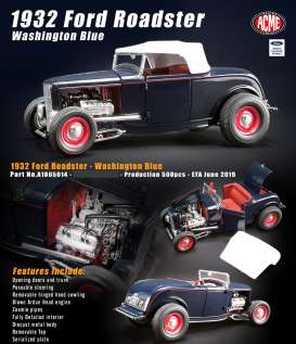 Ford  - Roadster 1932 washington blue - 1:18 - Acme Diecast - 1805014 - acme1805014 | The Diecast Company