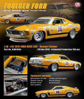 Ford  - Boss Mustang 302 #16 1970 yellow - 1:18 - Acme Diecast - 1801835 - acme1801835 | The Diecast Company
