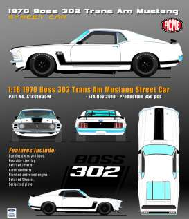 Ford  - Mustang Boss 302 Trans Am  - 1:18 - Acme Diecast - 1801835W - acme1801835W | The Diecast Company
