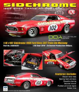Ford  - Trans Am Boss Mustang #102 1969 red - 1:18 - Acme Diecast - 1801829 - acme1801829 | The Diecast Company