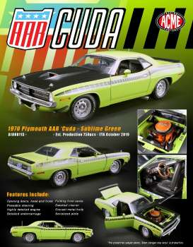 Plymouth  - AAR Cuda 1970 sublime green - 1:18 - Acme Diecast - 1806113 - acme1806113 | The Diecast Company