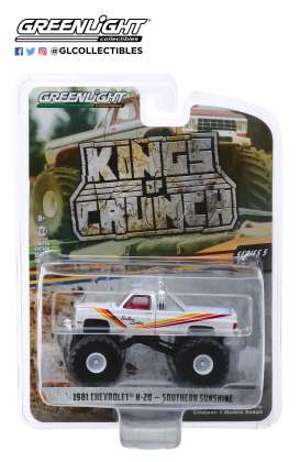 Chevrolet  - K20 Silvarado Monster Truck 1981 white/red/yellow - 1:64 - GreenLight - 49050D - gl49050D | The Diecast Company