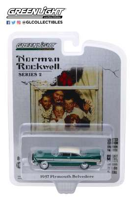 Plymouth  - Belvedere 1957 green/white - 1:64 - GreenLight - 54020D - gl54020D | The Diecast Company
