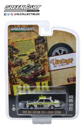 Datsun  - 510 1969 white/yellow - 1:64 - GreenLight - 39020B - gl39020B | The Diecast Company