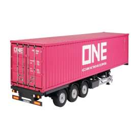 Trailer  - *ONE* + 40ft Container grey/pink - 1:18 - NZG - 979 - NZG979 | The Diecast Company