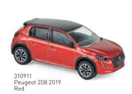 Peugeot  - 208 2019 red - 1:64 - Norev - 310911 - nor310911 | The Diecast Company