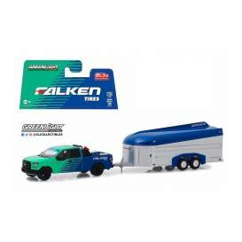 Ford  - F-150 & Aerovault Trailer 2017 blue/green/silver - 1:64 - GreenLight - 51244 - gl51244 | The Diecast Company