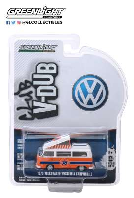 Volkswagen  - Type 2 1973 orange/white - 1:64 - GreenLight - 29980B - gl29980B | The Diecast Company