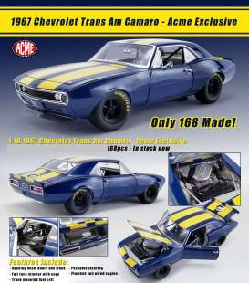 Chevrolet  - Trans Am 1967 blue/yellow - 1:18 - Acme Diecast - 18909 - acme18909 | The Diecast Company