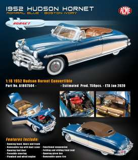 Hudson  - Hornet convertible 1952 blue - 1:18 - Acme Diecast - 1807504 - acme1807504 | The Diecast Company