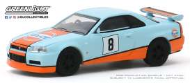 Nissan  - Skyline GT-R 2001 blue/orange - 1:64 - GreenLight - 47060C - gl47060C | The Diecast Company