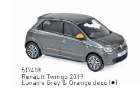Renault  - Twingo 2019 grey/orange - 1:43 - Norev - 517418 - nor517418 | The Diecast Company