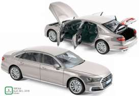 Audi  - A8 L 2018 silver metallic - 1:18 - Norev - 188366 - nor188366 | The Diecast Company