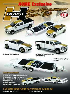 Chevrolet  - 3500 Dually & Camaro *Hurst* 2018 white/gold - 1:64 - Acme Diecast - 51323 - acme51323 | The Diecast Company