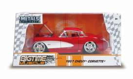 Chevrolet  - Corvette 1957 red/white - 1:24 - Jada Toys - 31451 - jada31451r | The Diecast Company