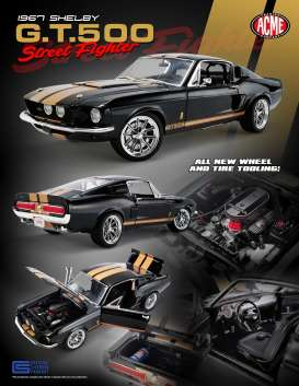Shelby  - GT500 *Street Fighter* 1967 black/gold - 1:18 - Acme Diecast - 1801837 - acme1801837 | The Diecast Company