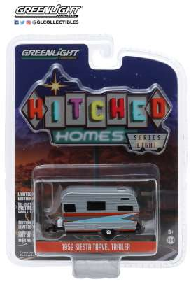 Siesta Travel Trailer  - 1959 silver/orange - 1:64 - GreenLight - 34080B - gl34080B | The Diecast Company