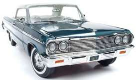Chevrolet  - Impala 1964 aqua green/white - 1:18 - Auto World - AMM1219 - AMM1219 | The Diecast Company