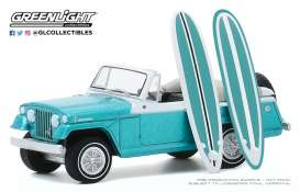 Kaiser-Jeep  - Jeepster 1968 blue/white - 1:64 - GreenLight - 97090B - gl97090B | The Diecast Company