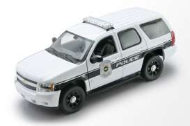 Chevrolet  - Tahou *Police* 2008 white/black - 1:24 - Welly - 22509WP - welly22509WP | The Diecast Company