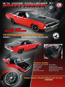 Dodge  - Challenger Street Fighter 1970 red/black - 1:18 - Acme Diecast - 1806014 - acme1806014 | The Diecast Company