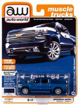 Chevrolet  - Silverado 2019 blue - 1:64 - Auto World - SP037A - AWSP037A | The Diecast Company