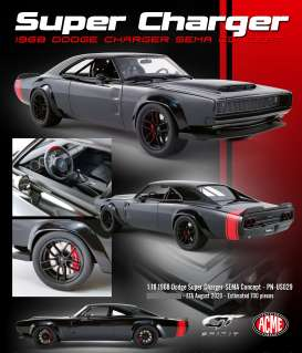Dodge  - Super Charger 1968 black/red - 1:18 - Acme Diecast - US029 - GTUS029 | The Diecast Company