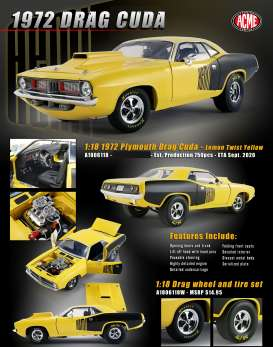 Plymouth  - Cuda Drag 1972 yellow - 1:18 - Acme Diecast - 1806118 - acme1806118 | The Diecast Company