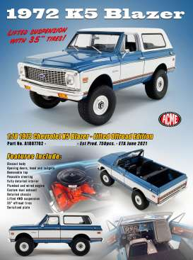 Chevrolet  - K5 Blazer Lifted Offroad versi 1970 blue/white - 1:18 - Acme Diecast - 1807702 - acme1807702 | The Diecast Company