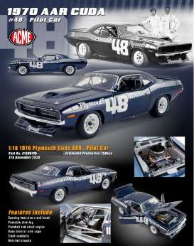 Plymouth  - Cuda AAR 1970 blue/white - 1:18 - Acme Diecast - 1806119 - acme1806119 | The Diecast Company