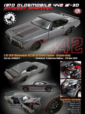 Oldsmobile  - 1970 grey - 1:18 - Acme Diecast - A1805617 - acme1805617 | The Diecast Company