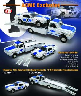 Chevrolet  - C30 Ramp Truck & Camaro 1967 white/blue - 1:64 - Acme Diecast - 51344 - acme51344 | The Diecast Company