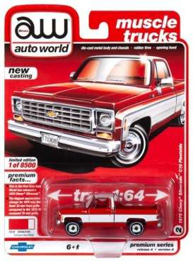 Chevrolet  - Silverado 1975 red/white - 1:64 - Auto World - SP030A - AWSP030A | The Diecast Company