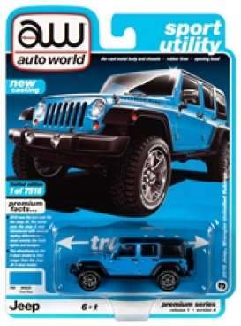 Jeep  - Wrangler 2018 blue/black - 1:64 - Auto World - SP033A - AWSP033A | The Diecast Company