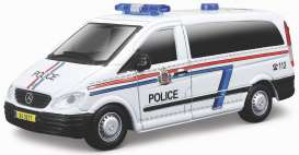 Mercedes Benz  - Vito white/blue/red - 1:50 - Bburago - 32009w - bura32009w | The Diecast Company