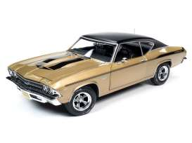 Chevrolet  - Chevelle 1969 gold/black - 1:18 - Auto World - AMM1206 - AMM1206 | The Diecast Company