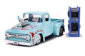 Ford  - F-100 pick-up 1956 blue/flames - 1:24 - Jada Toys - 31542 - jada31542 | The Diecast Company