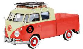 Volkswagen  - Type 2 pick-up  red/cream - 1:24 - Motor Max - 79582 - mmax79582 | The Diecast Company