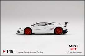 Lamborghini  - Huracan white/red - 1:64 - Mini GT - 00148 - MGT00148lhd | The Diecast Company