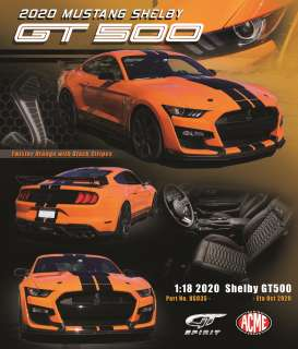 Ford  - Mustang Shelby GT500 2020 orange/black - 1:18 - Acme Diecast - US035 - GTUS035 | The Diecast Company