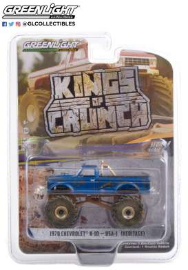 Chevrolet  - K-10 Monster Truck 1970 blue - 1:64 - GreenLight - 49090F - gl49090F | The Diecast Company