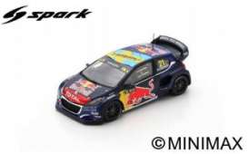 Peugeot  - 208 2019 blue/red/black - 1:43 - Spark - S7821 - spaS7821 | The Diecast Company