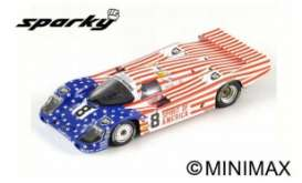 Porsche  - 956 1986 Blue/Red/White - 1:64 - Spark - Y176 - spaY176 | The Diecast Company