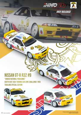 Nissan  - GT-R R32  #9 1992 white/yellow - 1:64 - Inno Models - in64R32SIN92 - in64R32SIN92 | The Diecast Company