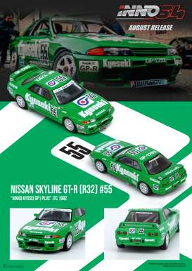Nissan  - Skyline  GT-R R32 #55 1992 green/white - 1:64 - Inno Models - in64R32NK92 - in64R32NK92 | The Diecast Company