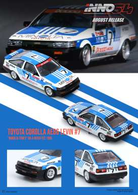 Toyota  - Corolla Levin AE86 #7 1985 white/blue - 1:64 - Inno Models - in64AE86Toms - in64AE86Toms | The Diecast Company