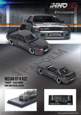 Nissan  - GT-R R32 2019 black/chrome - 1:64 - Inno Models - in64R32CHBHS - in64R32CHBHS | The Diecast Company